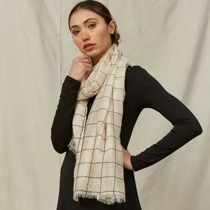 *NEW* Rachel Pally Cream and Black Grid Scarf